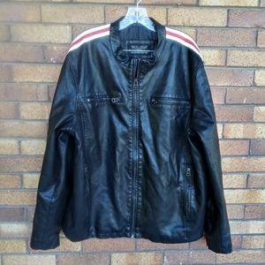 Wilsons Leather Faux Leather Cafe Biker Jacket XXL